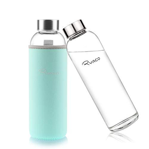 Ryaco Botella de Agua Cristal 550ml, Botella de Agua Reutilizable 18 oz, Sin BPA...