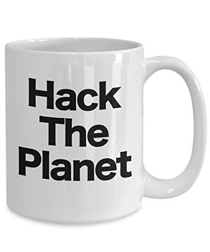 Taza de café Hack The Planet de color blanco, regalo divertido para ciberpunk y...