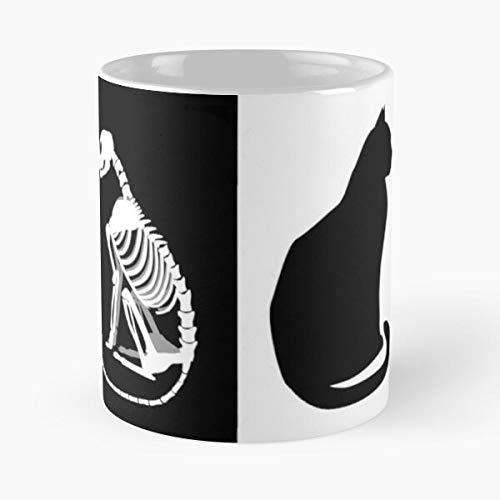 Schrodinger Cat - Taza de café de cerámica de mármol blanco de 11 onzas