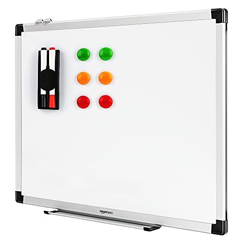 Amazon Basics - Pizarra blanca magnética con bandeja para rotuladores y marco...