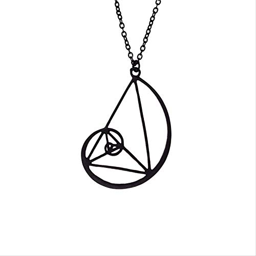 VAWAA Nueva Espiral con triángulo Collar Fibonacci Colgante relación...
