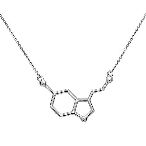 Serotonina Molécula Colgante Collar | Hecho de Plata de Ley 925 | Color Plata,...