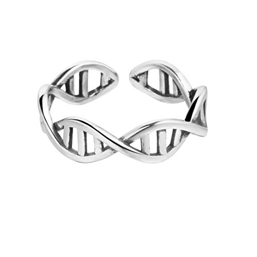 Anillo, plata de ley 925, diseño de cadena de ADN, ajustable