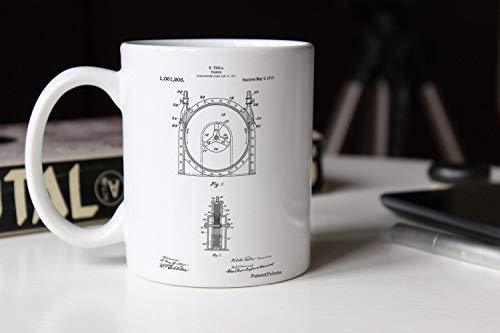 Zachrtroo Tesla PP1097 - Taza con diseño de la patente de las turbinas