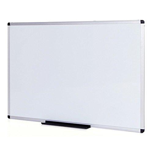VIZ-PRO Pizarra blanca magnética con marco de aluminio, 100 x 80 cm