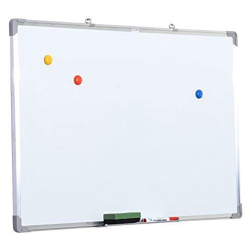 HOMCOM Pizarra magnetica blanca de 60 x 90cm con 10 imanes + 1 borrador + 4...