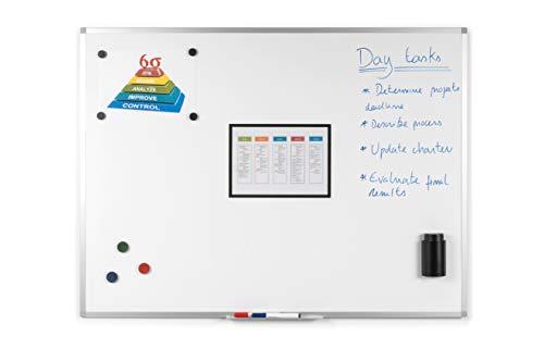 BoardsPlus - Pizarra blanca magnética con marco de aluminio y bandeja, 90 x 60...