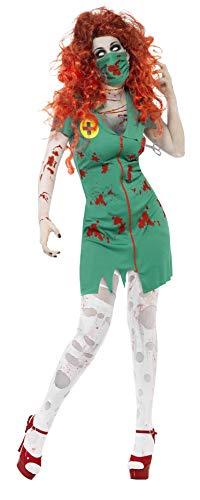 Smiffy's-24373L Halloween Disfraz de Enfermera Zombi, con Vestido y mascarilla,...