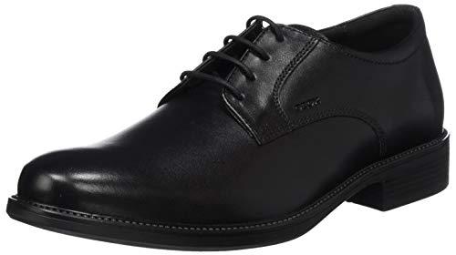 Geox Uomo Carnaby D, Zapatos de Cuero con Cordones para Hombre, Negro (Black...