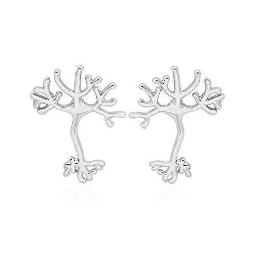 SALAN Pendientes De Neuronas De Moda para Mujeres Anatomía Neuron Stud Tree of...