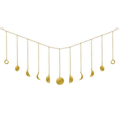 Fase Lunar Guirnalda con Cadenas Decoración de Pared Original Boho Gold Shining...