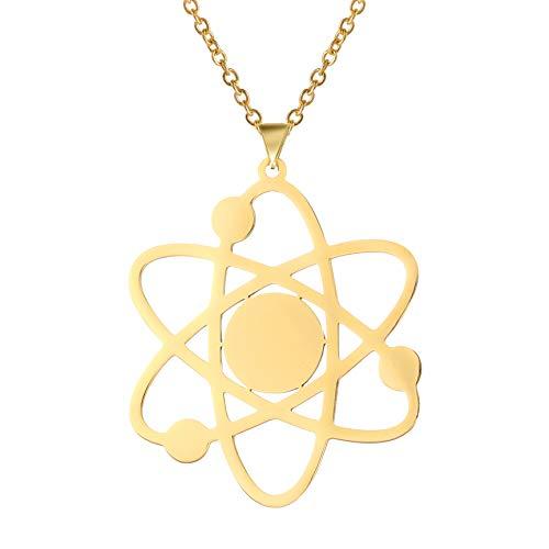 TEAMER Collar atómico de moda con colgante de acero inoxidable chapado en oro...