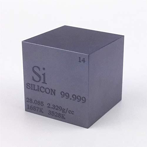Cubo de metal de silicio de 25,4 mm, 99,999% grabado tabla periódica de...