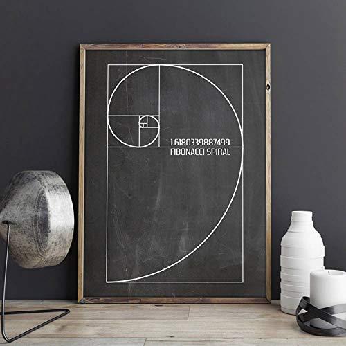 liwendi Fibonacci Espiral Patente Pared Arte Lienzo Pintura Oro Relación Cartel...