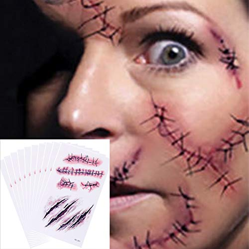 Chengzhi Tatuajes Temporales (10 Hojas) - Halloween Zombie Cicatrices Tatuajes...