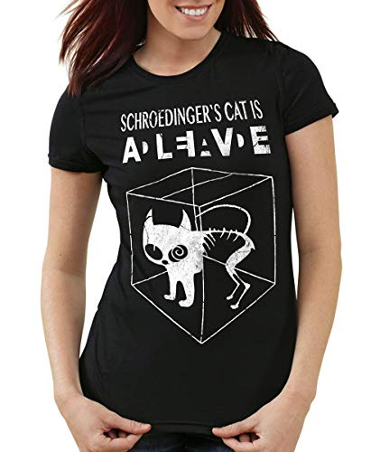 style3 Gato de Schrödinger Camiseta para Mujer T-Shirt, Color:Negro, Talla:M