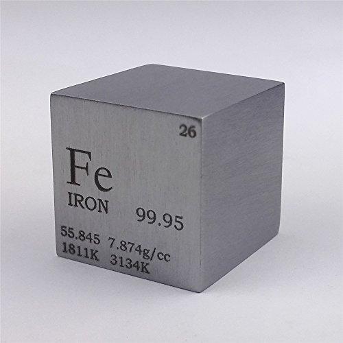 Cubo de metal de hierro puro de 25,4 mm, 128 g, 99,95% grabado, tabla periódica