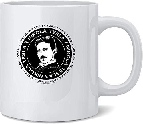 Not Applicable Nikola Tesla por Brigid Ashwood Scientist Taza de café de...