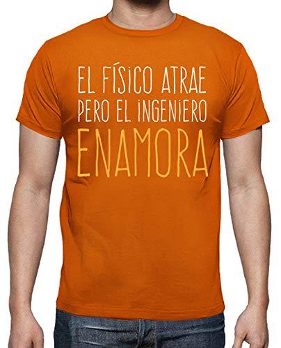 latostadora - Camiseta Ingenieros para Hombre Naranja S