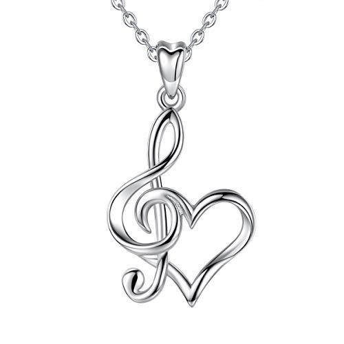 CELESTIA Collar Nota Musical de Plata de Ley 925, Corazón y Clave de Sol...