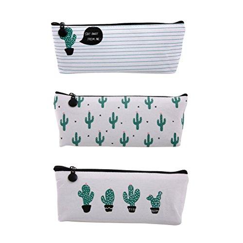 NUOLUX 3pcs Cactus Impreso Lápiz Lápiz Bolsa De Pluma Bolso De Maquillaje...