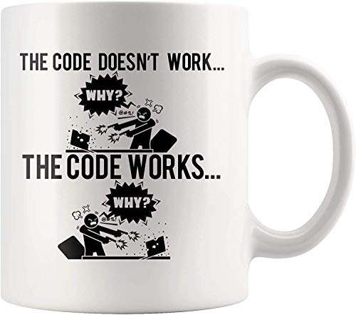 Taza de café divertida para programadores - Código funciona por qué - Idea de...