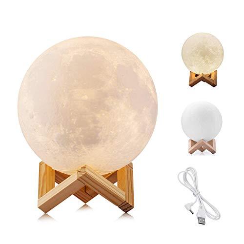 WYCY Lámpara Luna Control Tactil Luna Lámpara Impresión 3D 2 Colores Lámpara...