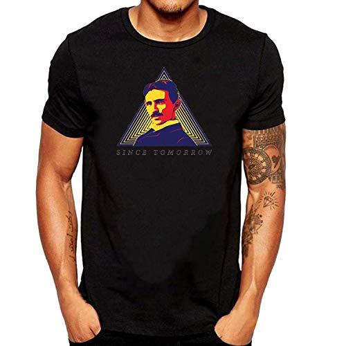 SEVENSIQI Nikola Tesla Since Hombre Short Sleeve Neck Camiseta/T Shirt Black