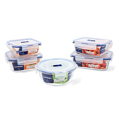 Luminarc Pure Box Active Set 5 recipientes herméticos de Vidrio, Extra...