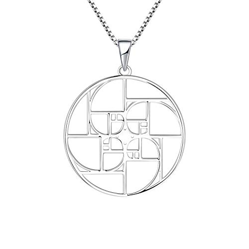 JO WISDOM Fibonacci Colgante de Plata 925 Espiral Geometrico Collar para Mujer