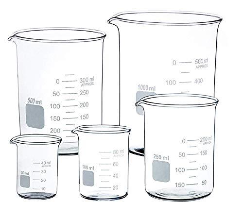 Vaso de cristal transparente de 50 ml, 100 ml, 250 ml, 500 ml, 1000 ml vaso...