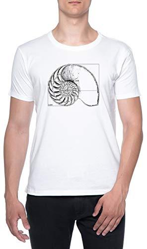 Fibonacci En Una Nautilo Cáscara Blanco Hombre Camiseta Mangas Cortas Tamaño...