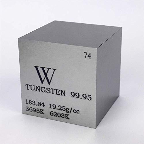 Cubo de metal de tungsteno de 25,4 mm, 315 g, 99,95% grabado, tabla periódica W...