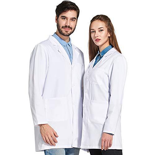 Icertag Bata de Laboratorio Unisex,médico Abrigo Abrigo de Mujer Hombre,Abrigo...