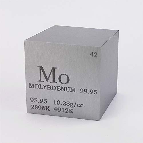 Cubo de metal de molibdeno de 25,4 mm, 99,95 % 168 g, tabla periódica grabada