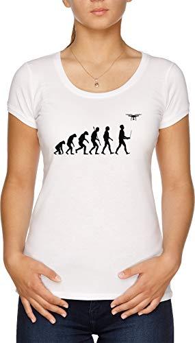 Evolución De Mujer - Zumbido Piloto Edición Blanco Camiseta Mujer Blanco