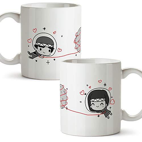 MUGFFINS (Pack 2 tazas) Tazas San Valentín - Astronautas - Regalos Originales y...