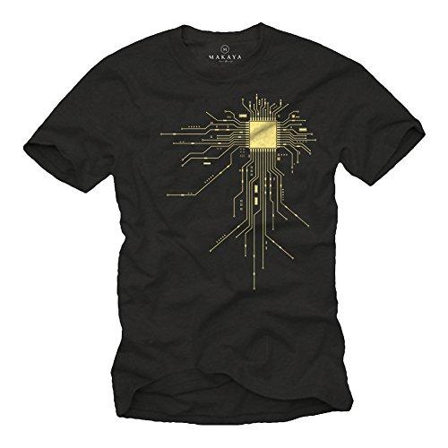 MAKAYA Regalo Friki - Camiseta para Hombre Negra - CPU - Talla XXL