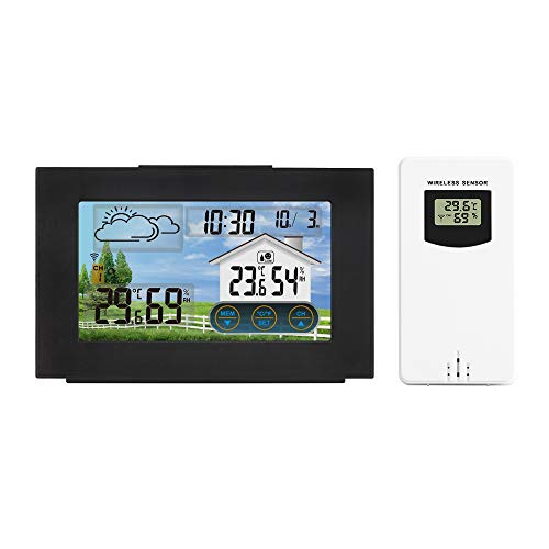 PopHMN Estación meteorológica con Sensor Interior para Exteriores, Reloj...