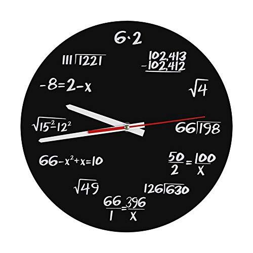 OKBY Reloj de Pared: novedoso Reloj Redondo matemático Decorativo, Cada Hora...