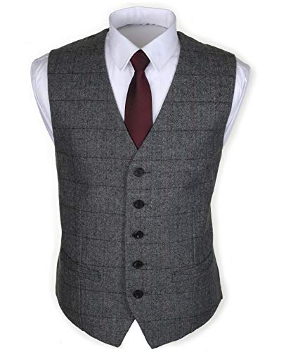 Ruth&Boaz 2Pockets 5Buttons Wool Herringbone Plaid Tailored Collar Suit Vest...