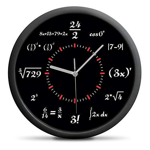 Froster Reloj de matemáticas, no ticking, reloj de pared silencioso,...