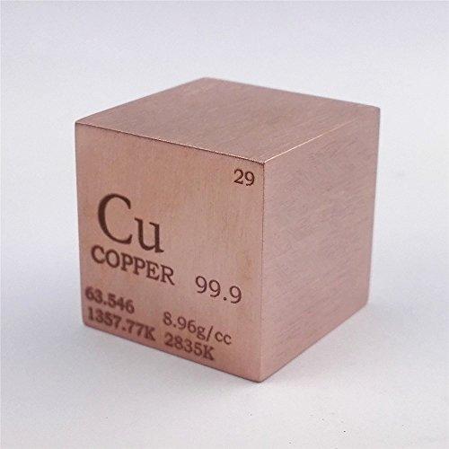 Cubo de metal de cobre de 25,4 mm, 146 g, 99,9% grabado, tabla periódica de...
