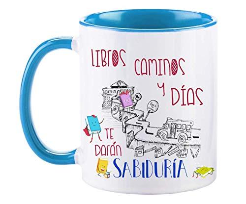FUNNY CUP Taza Libros, Caminos y días te darán sabiduría. Taza para...