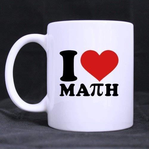 Love Study Diseño de moda 'I Love Math' (Twin Side) Taza de café de cerámica...