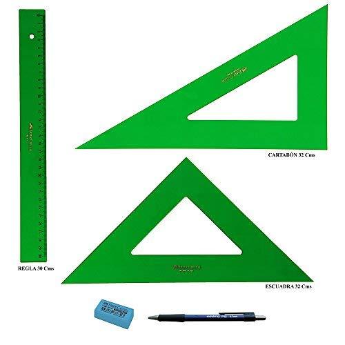PACK LOTE Faber Castell Técnico - Regla 813-30 Cms + Escuadra 566-32 Cms +...