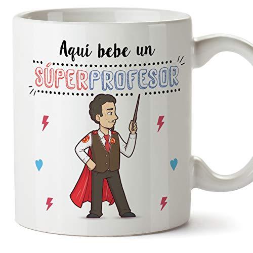 MUGFFINS Taza Profesor (Hombre) - Súper Profesor - Taza de Café/Desayuno -...