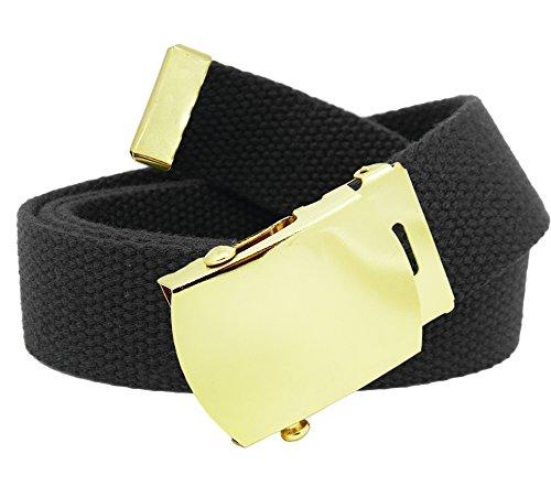 Hebilla de cinturón militar de latón dorado para hombre con cinturón de tela...