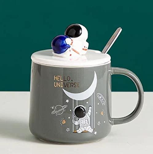 Oamaru Taza con forma de astronauta para oficina, taza de café con tapa y...