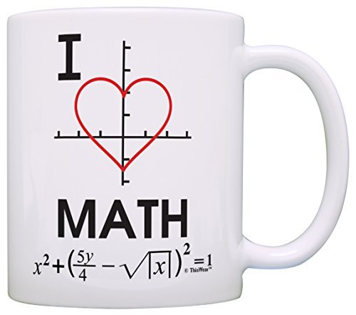 Taza divertida con texto en inglés 'I Love Math Heart Graph Calculus Algebra...